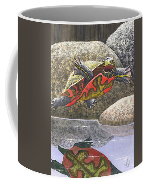 Turtle Coffee Mug featuring the painting Im Flying by Catherine G McElroy