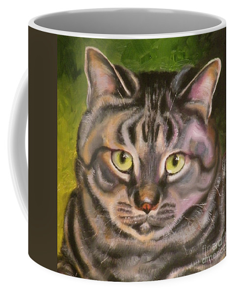 Cat Coffee Mug featuring the painting Im Your Man Tabby by Susan A Becker