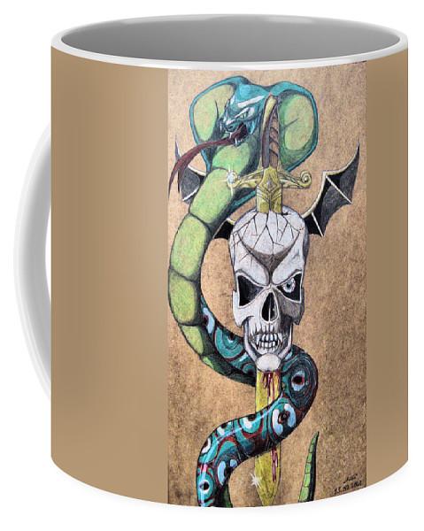 Cobra Coffee Mug featuring the drawing imaginative Simbol by Alban Dizdari