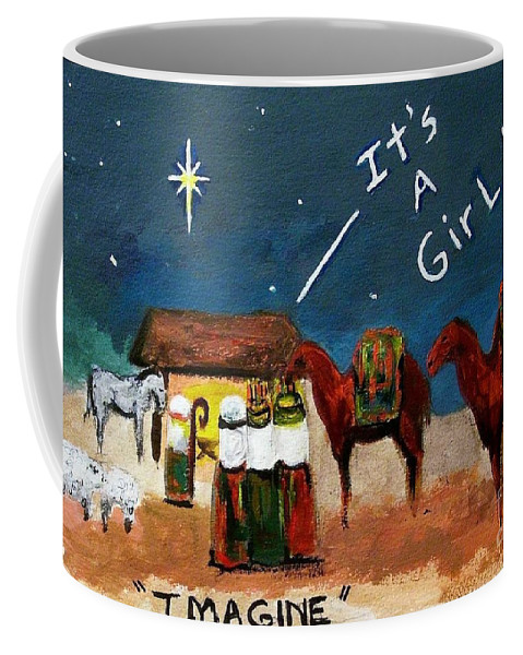 Christmas Card Coffee Mug featuring the painting Imagine by Frances Marino