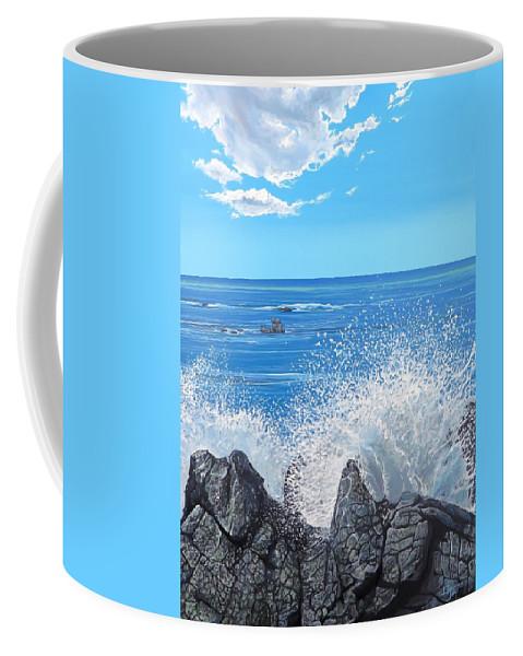 Ocean Coffee Mug featuring the painting Splash by Hunter Jay