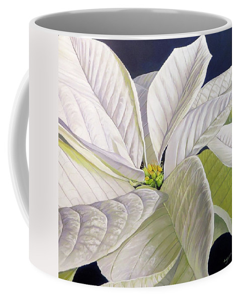 White Poinsettia Coffee Mug featuring the painting Swirl by Hunter Jay