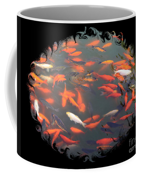 Photography Coffee Mug featuring the photograph Imperial Koi Pond With Black Swirling Frame by Carol Groenen