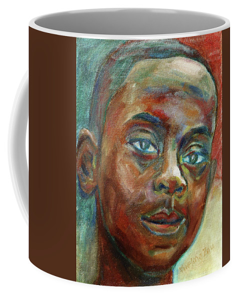 Boy Coffee Mug featuring the painting Impossible by Xueling Zou