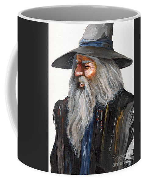 Fantasy Art Coffee Mug featuring the painting Impressionist Wizard by J W Baker