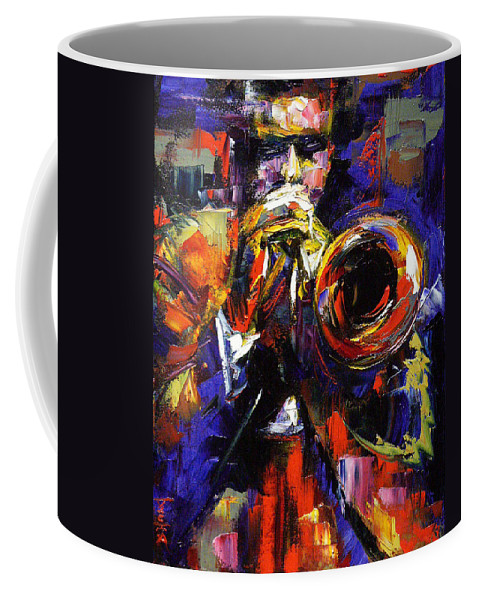 Trumpet Coffee Mug featuring the painting Improv by Debra Hurd