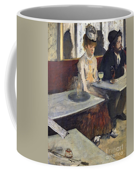 In A Cafe Coffee Mug featuring the painting In A Cafe by Edgar Degas