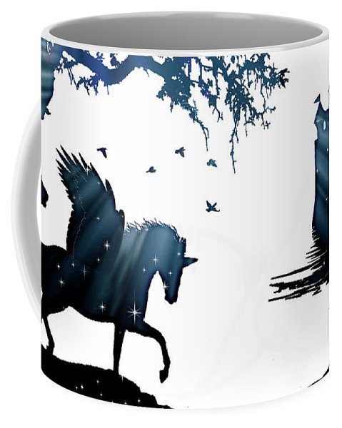 Horse Coffee Mug featuring the photograph In A Dream, Unicorn, Pegasus And Castle Modern Minimalist Style by Stephanie Laird