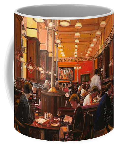 Coffee Shop Coffee Mug featuring the painting In Birreria by Guido Borelli