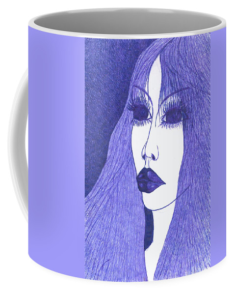 Psychedelic Coffee Mug featuring the drawing In Blue Colour by Wojtek Kowalski