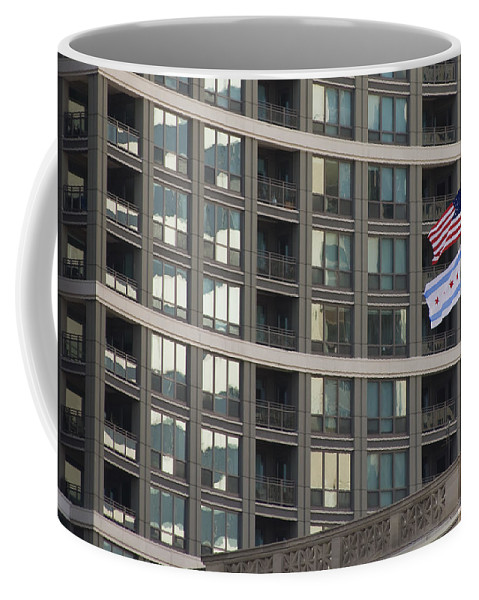 Chicago Windy City Metro Urban Building Windows Flag Reflection Coffee Mug featuring the photograph In Chicago by Andrei Shliakhau
