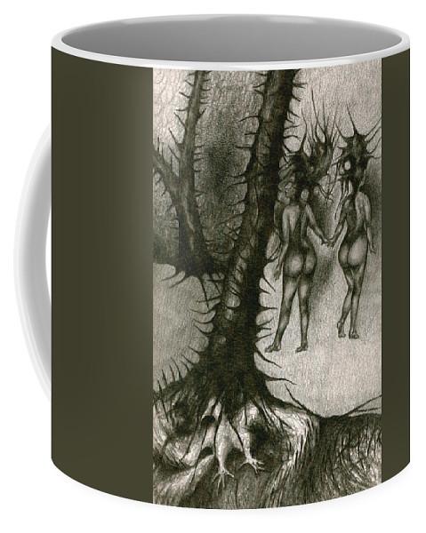 Joy Coffee Mug featuring the drawing In Concealment by Wojtek Kowalski