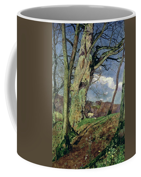 In Early Spring: A Study In March (oil On Canvas) By John William Inchbold (1830-88) Coffee Mug featuring the painting In Early Spring by John William Inchbold