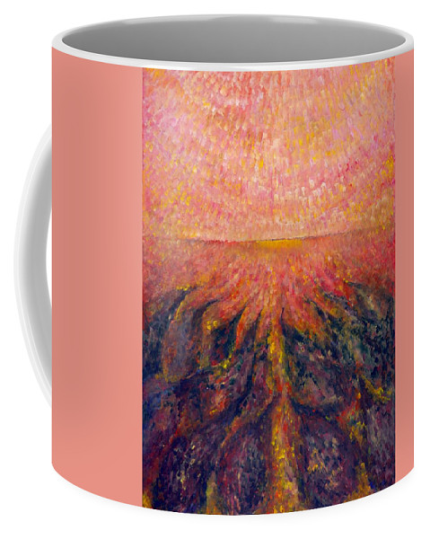 Colour Coffee Mug featuring the painting In Far Road by Wojtek Kowalski