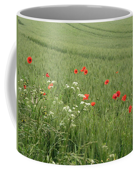 Lest-we Forget Coffee Mug featuring the photograph in Flanders Fields the poppies blow by Mary Ellen Mueller Legault