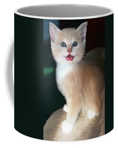 Cat Coffee Mug featuring the digital art In Memoriam Baby Gussy by Holly Ethan