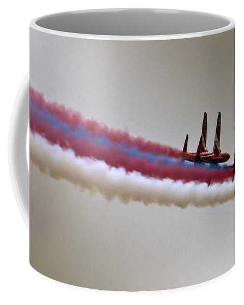 Red Arrows Coffee Mug featuring the photograph In One Row by Angel Tarantella