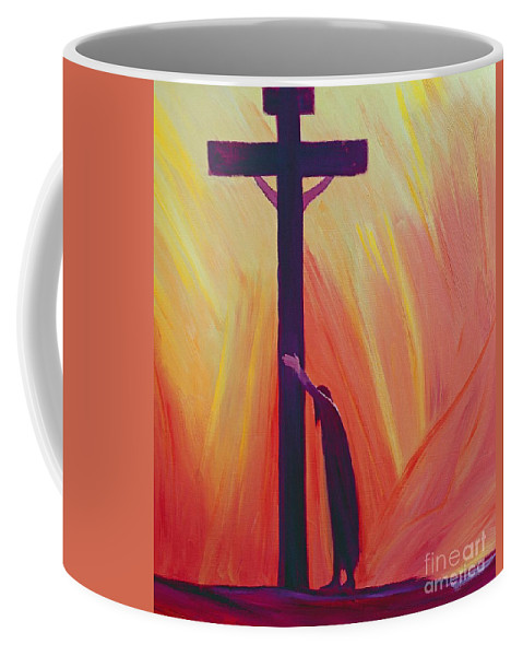 Jesus; Faith; Crucifix; Crucifixion; Salvation; Trust; Savior; God; Catholic; Christianity; Spirituality; Spiritual; Belief; Christ; Cross Coffee Mug featuring the painting In Our Sufferings We Can Lean On The Cross By Trusting In Christ's Love by Elizabeth Wang