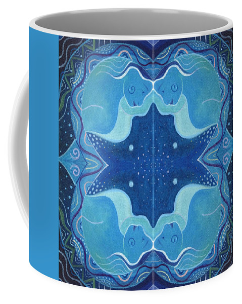 Blue Coffee Mug featuring the digital art In Perfect Balance - T J O D 26 Compilation by Helena Tiainen
