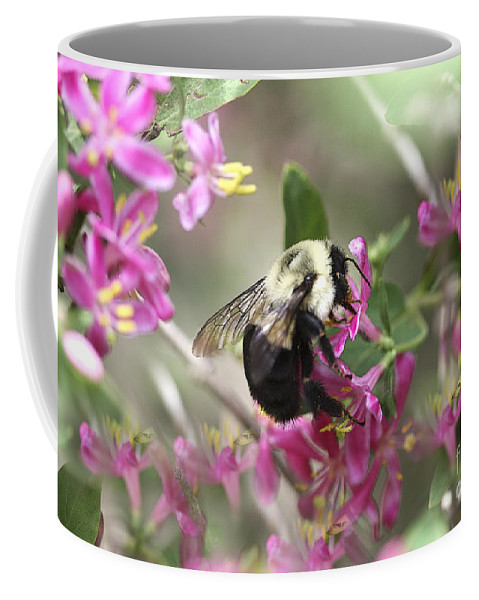 Flower Coffee Mug featuring the photograph In The Center Of Pink by Deborah Benoit