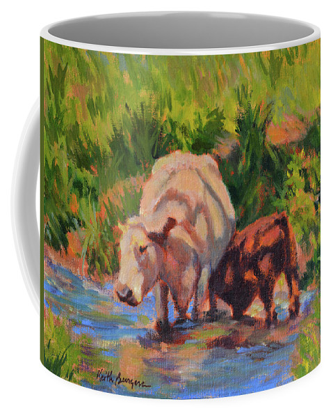 Impressionism Coffee Mug featuring the painting In The Creek by Keith Burgess