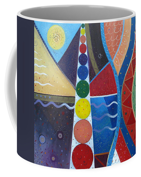 Abstract Landscape Coffee Mug featuring the painting In The Flow by Helena Tiainen