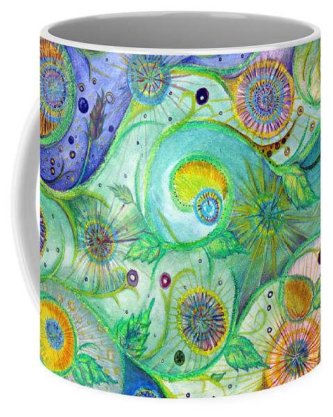 Landscape Coffee Mug featuring the drawing In The Garden by Amanda Kabat