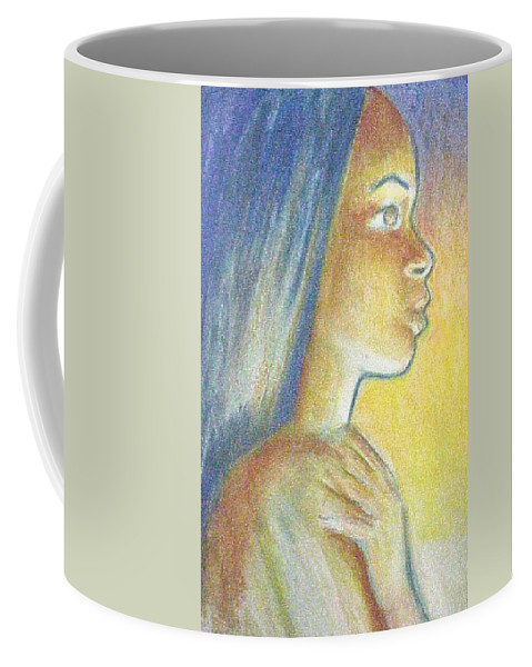 Coffee Mug featuring the drawing In The Glow by Jan Gilmore