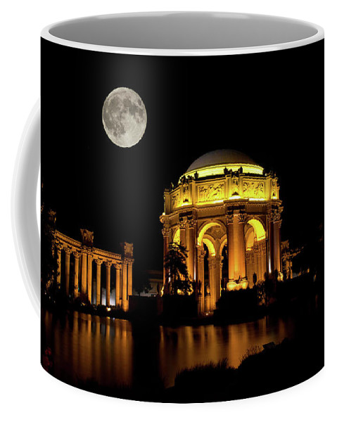 Palace Of Fine Arts And Supermoon Coffee Mug featuring the photograph In The Glow Of The Supermoon by Tran Boelsterli