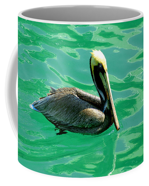Pelican Coffee Mug featuring the photograph In The Green Zone by Susanne Van Hulst