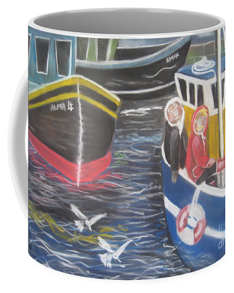 Boats Coffee Mug featuring the pastel In The Harbour by Caroline Peacock