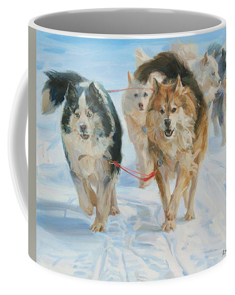 Dogs Coffee Mug featuring the painting In The Harness by Victoria Kharchenko