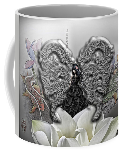 Land Coffee Mug featuring the digital art In The Land Of The Dragons by Mo T