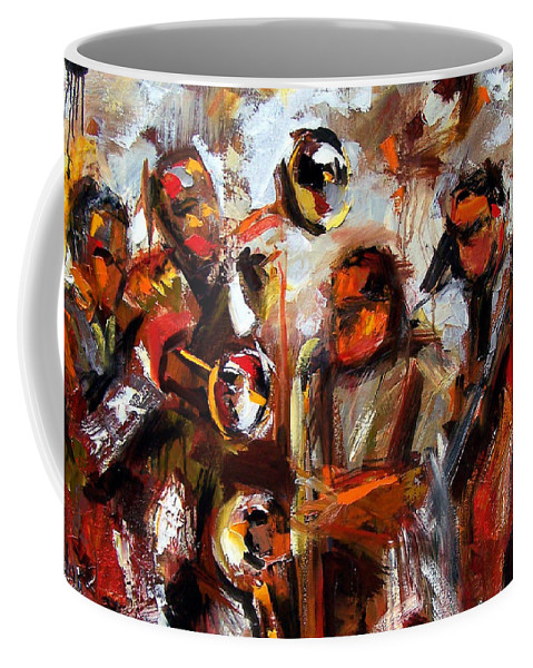 Jazz Art Coffee Mug featuring the painting In The Moment by Debra Hurd