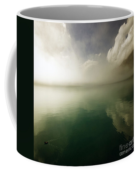 Duck Coffee Mug featuring the photograph In The Morning Mist by Angel Ciesniarska