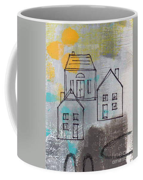 Abstract Coffee Mug featuring the painting In The Neighborhood by Linda Woods