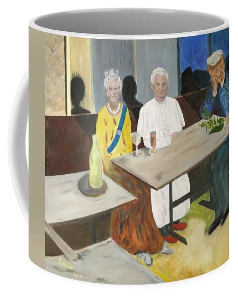 Pub Coffee Mug featuring the painting In The Pub by Avi Lehrer