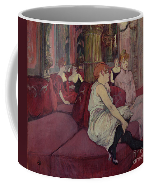 The Coffee Mug featuring the painting In The Salon At The Rue Des Moulins by Henri de Toulouse-Lautrec