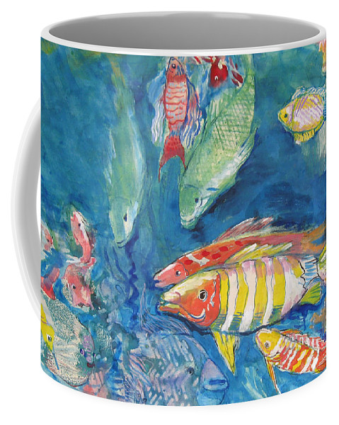 Water Coffee Mug featuring the painting In the Sea by Guanyu Shi