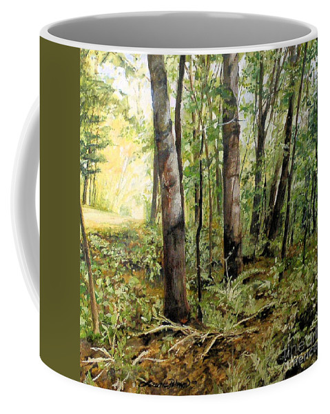 Landscape Coffee Mug featuring the painting In The Shaded Forest by Laurie Rohner