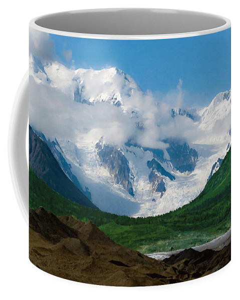 Alaska Coffee Mug featuring the digital art In The Valley by Max Steinwald
