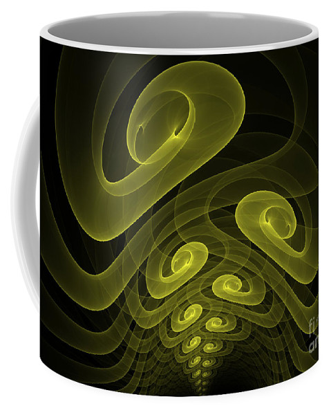 Apophysis Fractal Yellow Canvas Framed Cards Sell Art Coffee Mug featuring the mixed media In The Yellow Tunnel by Deborah Benoit