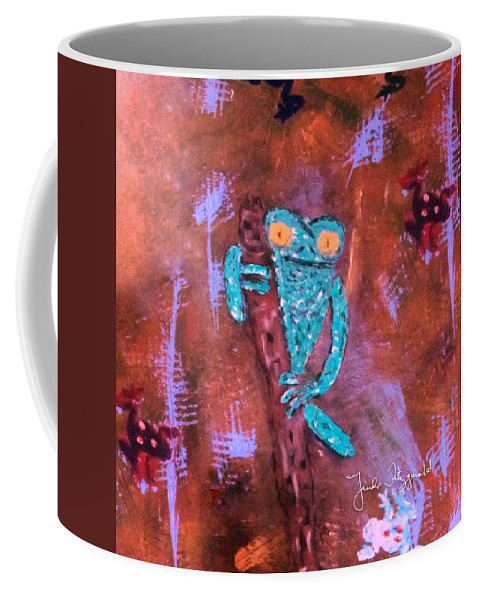 Animals Frogs Coffee Mug featuring the painting In The Trees by Linda Fitzgerald