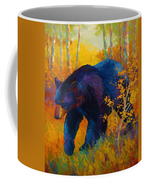Bear Coffee Mug featuring the painting In To Spring - Black Bear by Marion Rose