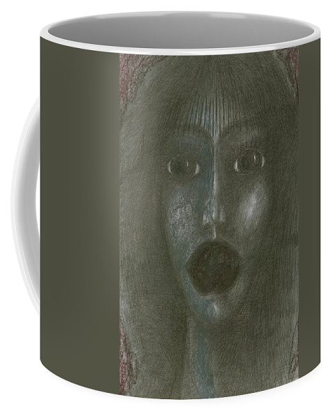 Psychedelic Coffee Mug featuring the drawing Incredulity by Wojtek Kowalski