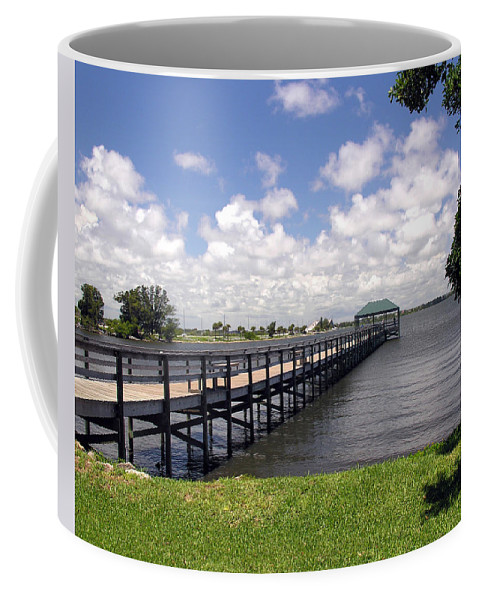 Indialantic; Pier; Florida; Brevard; Melbourne; Indian; River; Intercoastal; Waterway; Clouds South; Coffee Mug featuring the photograph Indialantic Pier On The Indian River Lagoon In Central Florida by Allan Hughes