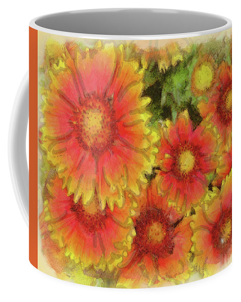 Indian Blanket Flower Coffee Mug featuring the digital art Indian Blanket Flowers by Leslie Montgomery