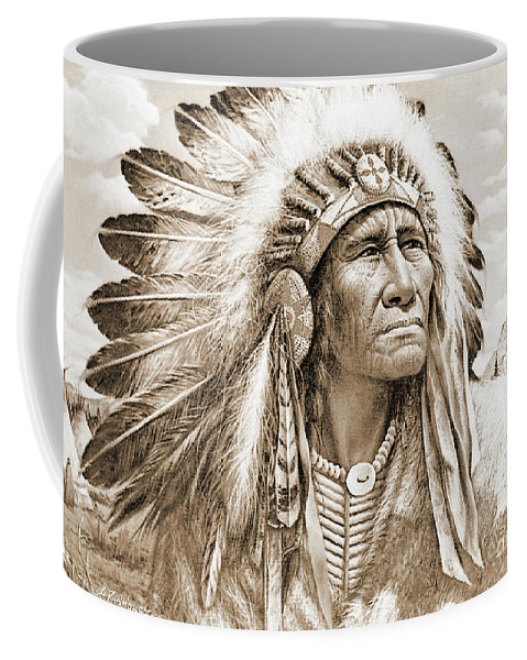 Native Coffee Mug featuring the photograph Indian Chief With Headdress by Gary Wonning