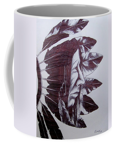 Indian Feathers Coffee Mug featuring the drawing Indian Feathers by Michael TMAD Finney