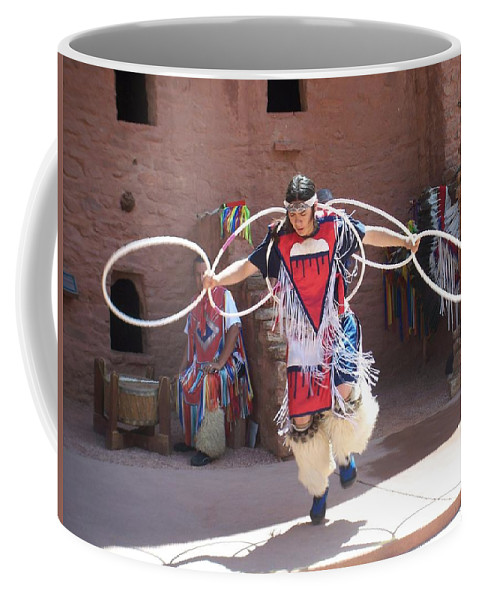 Indian Dancer Coffee Mug featuring the photograph Indian Hoop Dancer by Anita Burgermeister